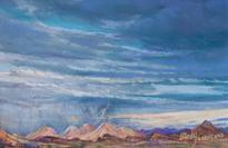 Illuminating the Desert miniature pastel landscape by Lindy C Severns, Old Spanish Trail Studio, Fort Davis TX. Desert skyscape