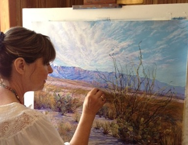 Texas artist Lindy Cook Severns paints the desert Southwest in pastels at her easel at Old Spanish Trail Studio near Fort Davis Texas