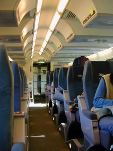 Economy coach class on board VIA Rail Canada's 'Ocean' train between Montréal, Québec and Halifax, Nova Scotia, May 2006.