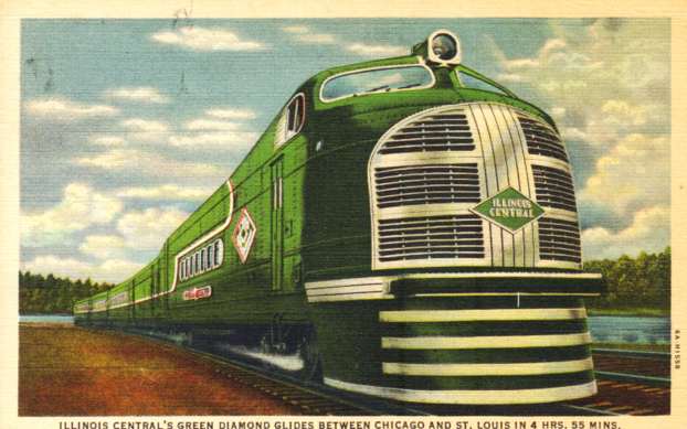 Postcard depiction of the Illinois Central's Green Diamond trainset.