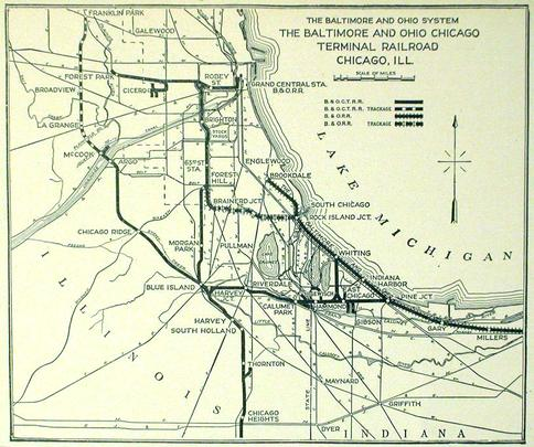 A map of the Baltimore & Ohio Chicago Terminal Railroad.
