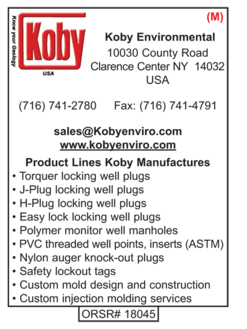 Koby Environmental, Well Plugs, Torquer locking, j-plug locking, h-plug locking, easy lock locking, polymer monitor well manholes