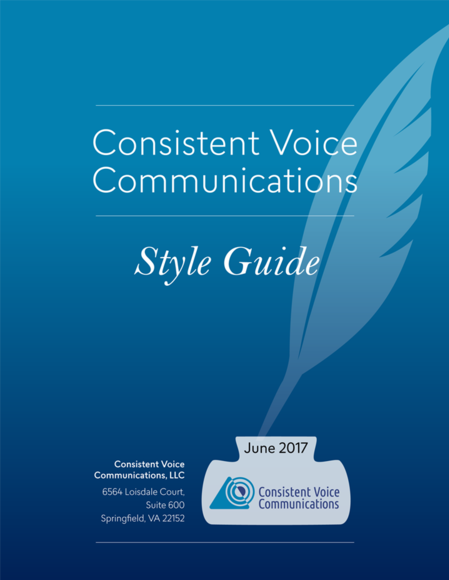 Consistent Voice Communications Style Guide cover