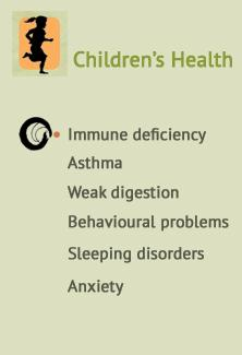 Children's health, Immune deficiency, Asthma, Weak digestion, Behavioural problems & Anxiety