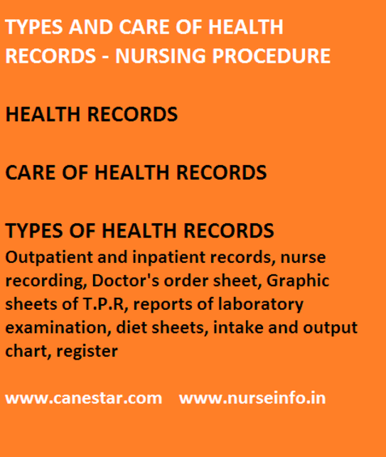 Types and care of health records, nursing procedure