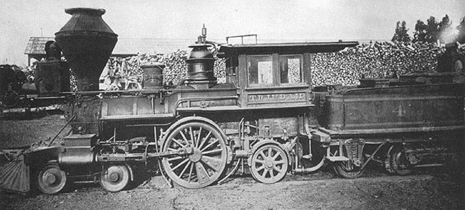 The T. D. Judah, a locomotive rebuilt as a 4-2-2 by the Central Pacific Railroad.