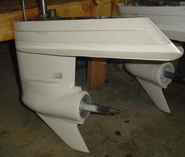 Newer Style - Used 2 piece lower unit gearcase for the 3 and 4 cylinder Chrysler outboard engines