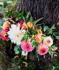 Wells wedding, Laudholm Farm wedding, Maine wedding florist, orange, pink, blush, white, yellow, green, fall bridal bouquet, Julie K. Gray Photography
