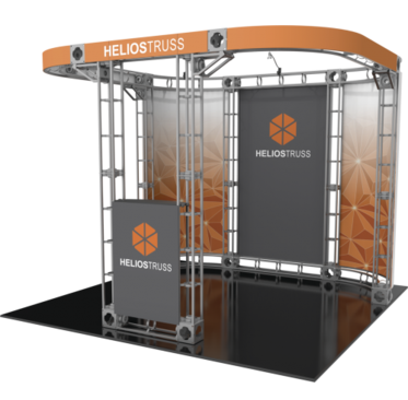Helios 10x10 Orbital Express Truss trade show booth exhibit right side view.