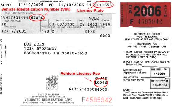 California Registration and Sticker