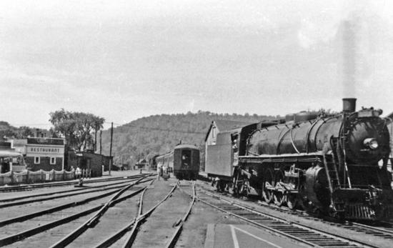 Central Vermont Railway 4-8-2 at White River Junction (Vt.), after working the morning express from Montreal (Central), which continued to Boston with a B&M Diesel.