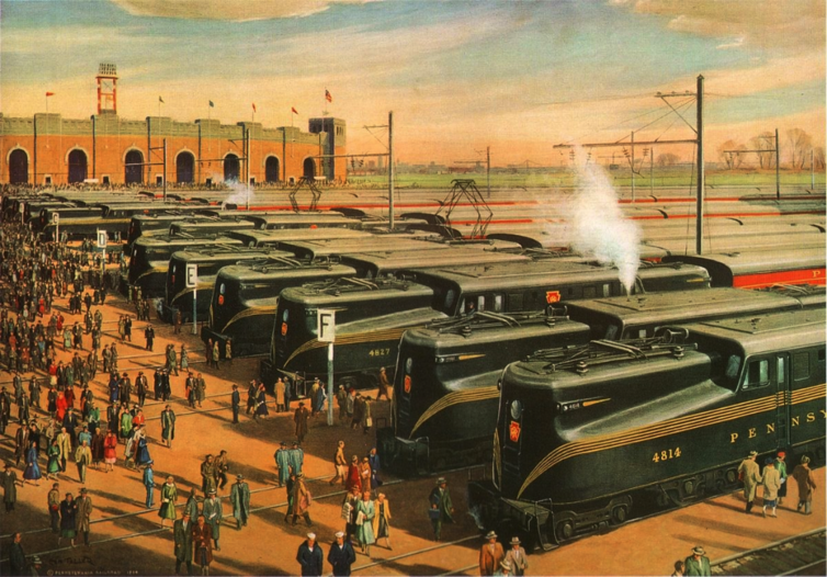 Mass Transportation (Army-Navy Game), Griffith Teller's illustration for the 1955 Pennsylvania Railroad calendar.