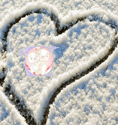 Drawing in snow heart with two lovers