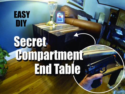 DIY secret hidden compartment end table. Hide a gun secret compartment. www.DIYeasycrafts.com