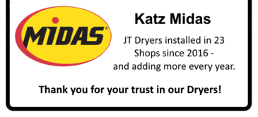 JT Series Refrigerated Compressed Air Dryers are being installed in over 100 Midas Shops owned by Katz Midas