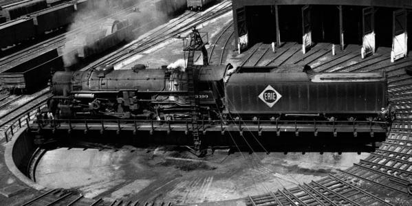 An Erie Railroad type 2-8-4 (Berkshire) locomotive on a turntable at Salamanca, New York, June 30, 1947.
