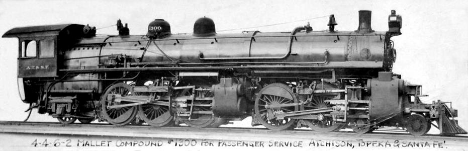 Builders photo of ATSF No. 1300, a 4-4-6-2 Mallet.
