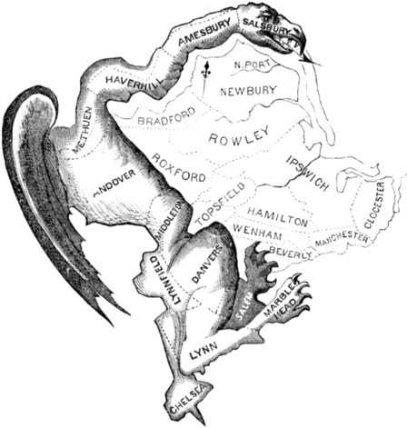 drawing of lizard-like gerrymander with counties marked, famous old newspaper image