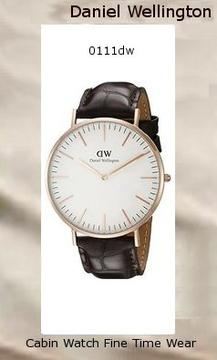Product Specifications Watch Information Brand, Seller, or Collection Name Daniel Wellington Model number 0111DW Part Number DW00100011 Model Year 2014 Item Shape Round Dial window material type Mineral Display Type Analog Clasp Buckle Metal stamp Stainless steel Case material Stainless steel Case diameter 40 millimeters Case Thickness 6 millimeters Band Material Genuine-leather Band length Men's Standard Band width 20 millimeters Band Color Brown Dial color White Bezel material Rose Gold Bezel function Stationary Calendar Date Special features Daniel wellington Item weight 2.40 Ounces Movement Quartz Water resistant depth 99 Feet,daniel wellington
