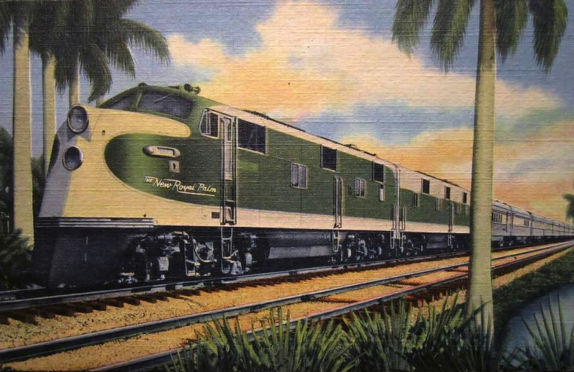 THE NEW ROYAL PALM - Luxurious streamlined train to and from the Great Lakes Region and Florida via New York Central System, Southern Railway System and Florida East Coast Railway. Diesel powered south of Cincinnati, Ohio.