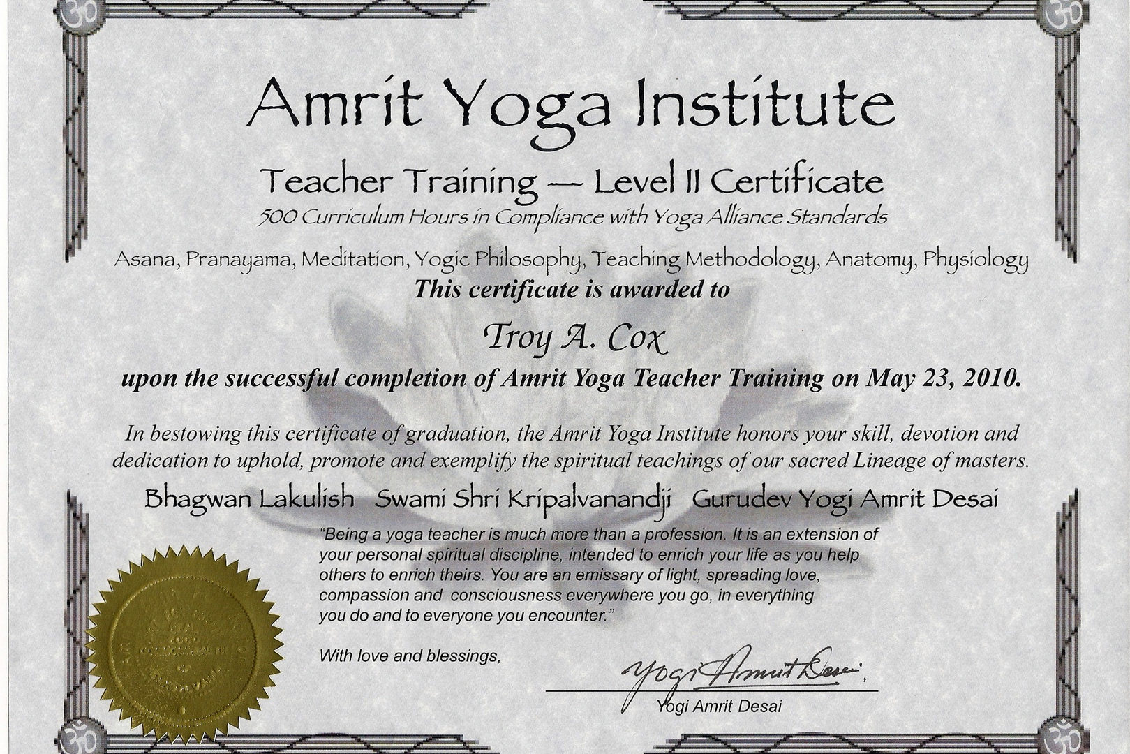 Yoga Teacher Training Trainer Troy Yoga Safe Yoga School