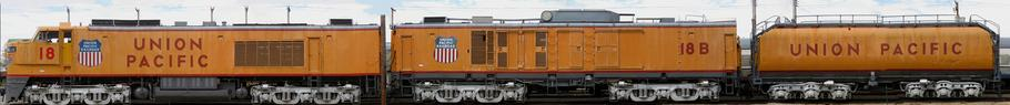 Union Pacific 3rd Generation GTEL locomotive with B unit and tender.