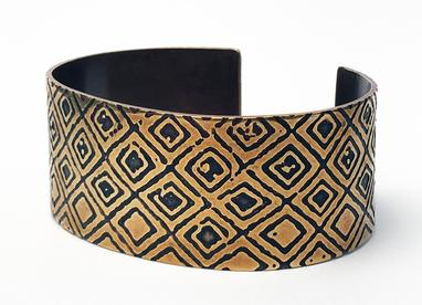 Carol Holaday - Kuba Cloth - etched brass cuff
