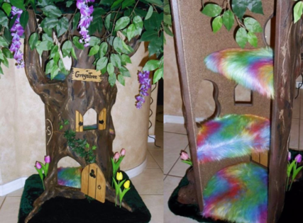 Rainbow Fur and Flowers Hidden Hollow Cat Tree