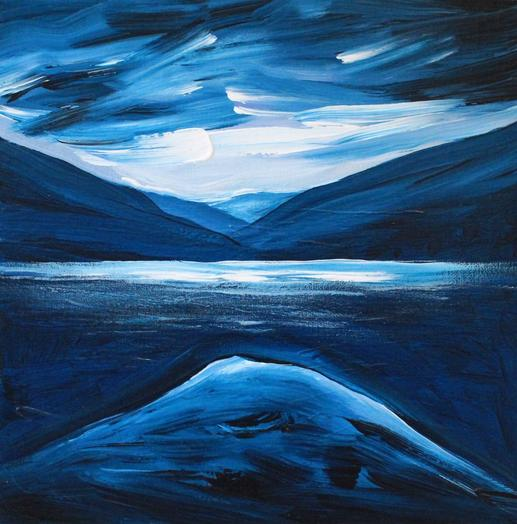 Reflections in Blue - Study 2019. 30x30cm. Acrylic paint on artist board. Varnished. Landscape painting by Irish artist Orfhlaith Egan. Orfhlaith Egan Art, Berlin - Cornamona. Private collection Bayreuth, Germany.