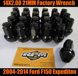 ford 14x2.0 black lug nuts