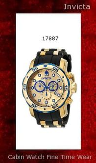 Watch Information Brand, Seller, or Collection Name Invicta Model number 17887 Part Number 17887 Model Year 2015 Item Shape Round Dial window material type Synthetic sapphire Display Type Analog Clasp Buckle Case material Stainless steel Case diameter 48 millimeters Case Thickness 17 millimeters Band Material Polyurethane Band length Men's Standard Band width 26 millimeters Band Color Black Dial color Gold Bezel material Stainless steel Bezel function Unidirectional Calendar Date Special features measures-seconds, Luminous, Chronograph Item weight 8.80 Ounces Movement Swiss quartz Water resistant depth 660 Feet