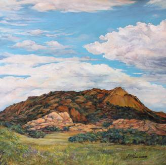 Sky Lights the Old Spanish Trail, original oil by Lindy C Severns Fort Davis TX