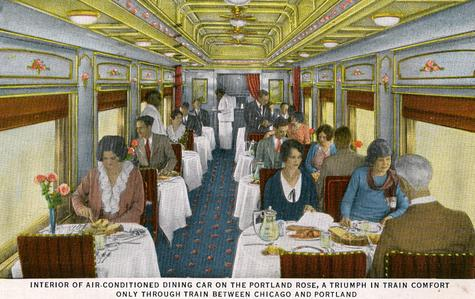 A postcard depicting the dining car on the Portland Rose.
