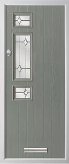 3 square strip composite door in grey
