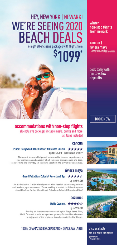 JFK & Newark to Caribbean All Inclusive Vacation Packages: Cancun, Riviera Maya and Punta Cana