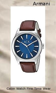 Armani Exchange Men's AX2324 Brown Leather Round silver-tone watch featuring brushed blue dial with stick indices, three-hand movement, and applied logo at center 44 mm stainless steel case with mineral dial window Quartz movement with analog display Leather band with buckle closure Water resistant to 50 m (165 ft): In general, suitable for short periods of recreational swimming, but not diving or snorkeling,armani