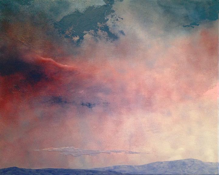 A Pink Sky. Original contemporary acrylic painting by emerging Irish artist Orfhlaith Egan. Private art collection Berlin Germany. Limited edition signed & numbered fine art prints for sale at WÜS Atelier & Gallery, Berlin art gallery & studio, Kaiserin-Augusta-Allee 47, Charlottenburg, Berlin.