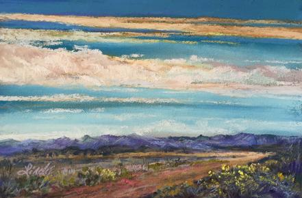 "The Bend in the Road 4"" x 6"" pastel by Lindy C Severns, Old Spanish Trail Studio, Fort Davis TX"