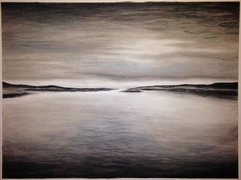 Grey Light. 42x56cm. Chalk pastel on watercolor paper 300grm. Contemporary grey and black seascape drawing by Irish artist Orfhlaith Egan. Inspired by November, a poem by William Cullen Bryant. 50x70cm white passpartout and white wood box frame.