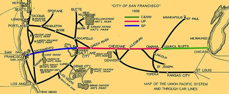 City of San Francisco route map, circa 1936.