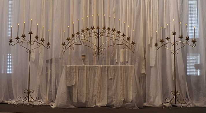Gold candelabras freestanding on the floor for wedding decor for rent at Rent Your Event, LLC in Charlotte, NC.