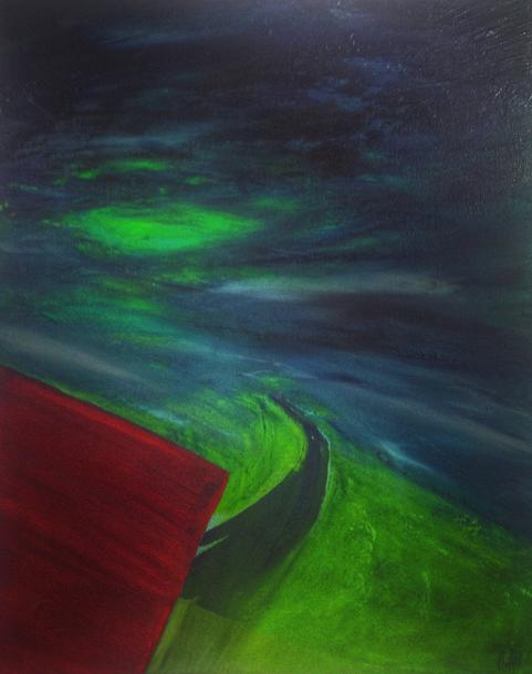 Green Light. 50x40cm. 2018. Acrylic paint and varnish on canvas. Expressionist jewel toned landscape painting by Irish artist Orfhlaith Egan. Berlin, Germany. For sale, please contact me for price.