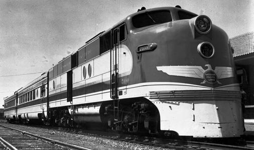 Missouri Pacific EMC AA No. 7100 Delta Eagle passenger train. (MP Photo)