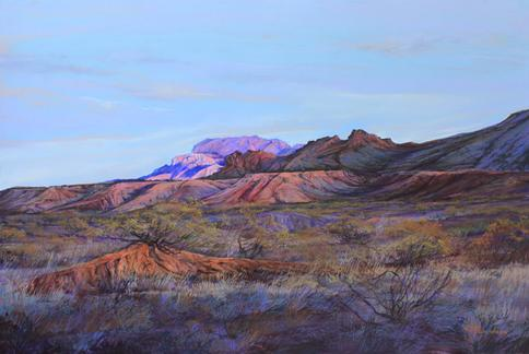 Texas Desert Twilight, a large pastel landscape painting by Lindy Cook Severns. Big Bend National Park and the Chisos Mountains