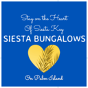 @siestabungalows Instagram Logo with blue background, yellow heart,and tagline.