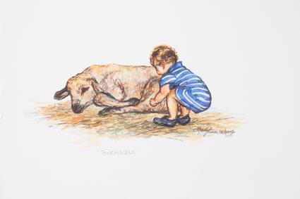 "Child and sheep in an original mixed media drawing by Texas artist Lindy C Severns. ""Touchable"" 8"" x 10"" unframed."