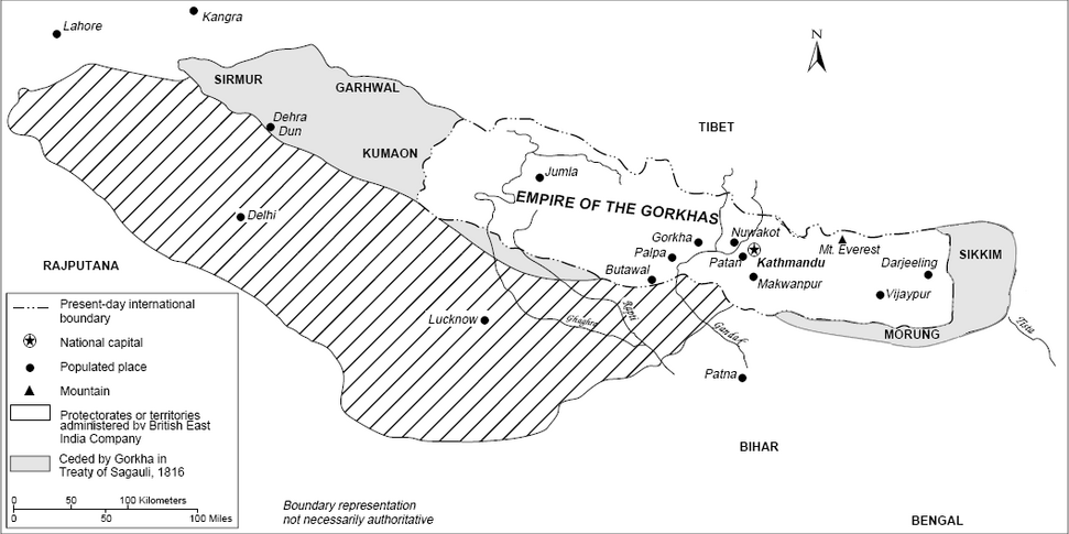 Map of Nepal showing areas seized by Gurkhas angering the British East India Company