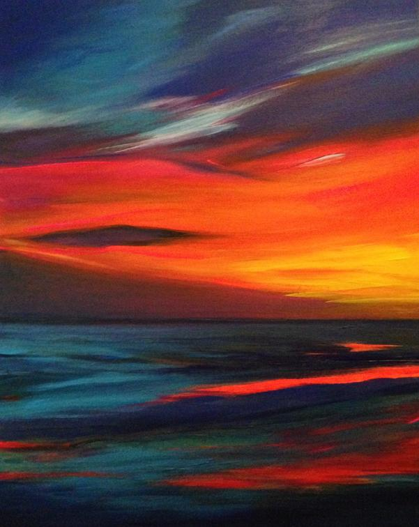 Fire Sky 2018. 50x40cm. Acrylic paint on canvas, varnished. New seascape painting by Irish artist Orfhlaith Egan.