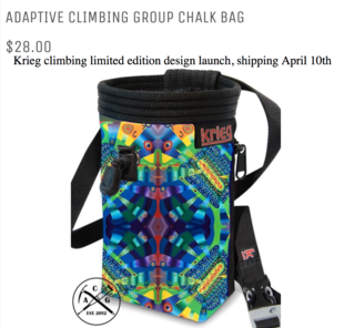 limited edition chalk bag design by Jasmine Raskas Unus Mundus Art for Krieg Climbing USA