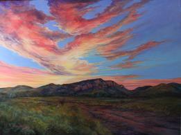 Sunset's Mountain Majesty, 30x40 oil by Lindy C Severns